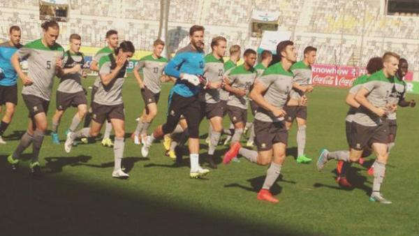 The Olyroos train at Hwaseong Sports Complex Stadium ahead of kick-off against Korea Republic.
