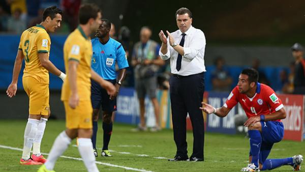 Socceroos coach Ange Postecoglou has applauded Australia's comeback against Chile.