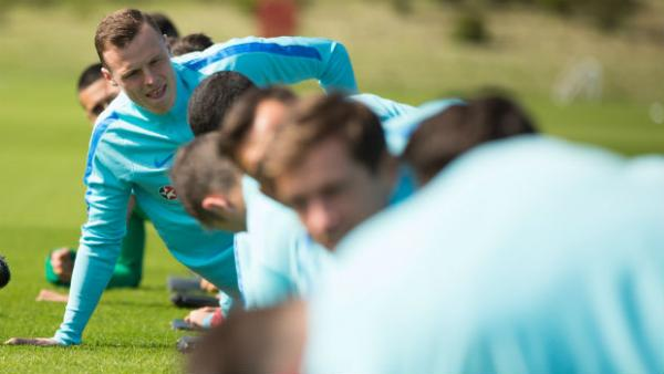 The Caltex Socceroos on the training ground in Sunderland.