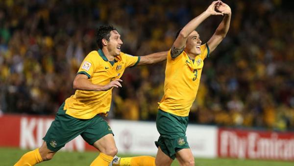 Jason Davidson celebrates his maiden goal for the Caltex Socceroos against the UAE.