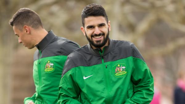 Defender Aziz Behich in camp with the Socceroos in Germany.