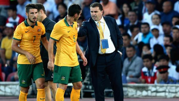 Ange Postecoglou gives instructions to midfielder Mark Milligan.