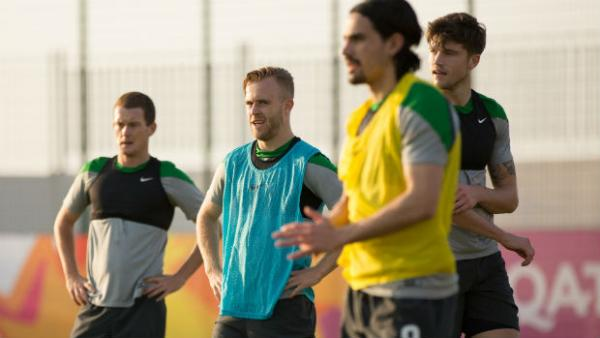 The Olyroos in training at the 2016 AFC U-23 Championship in Qatar.