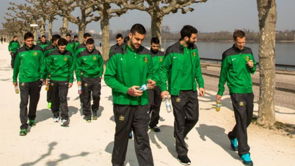 The Socceroos take part in their traditional team walk ahead of Germany kick-off.