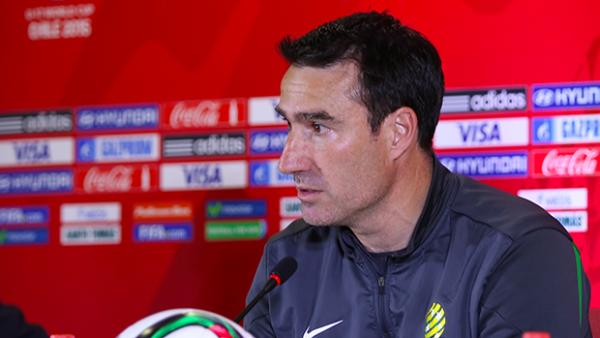 Tony Vidmar speaks at a press conference at the 2015 FIFA U-17 World Cup