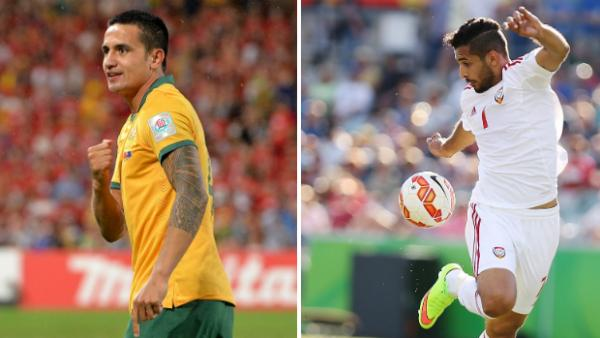 Australia's Tim Cahill and United Arab Emirates' Ali Mabkhout at the Asian Cup.