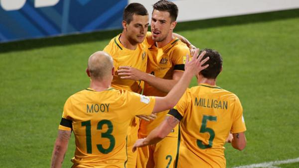 Tomi Juri celebrates after scoring Australia's second goal against Iraq.