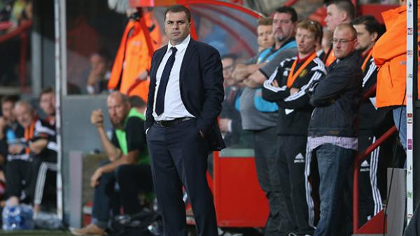 Socceroos coach Ange Postecoglou on the sideline against Belgium.