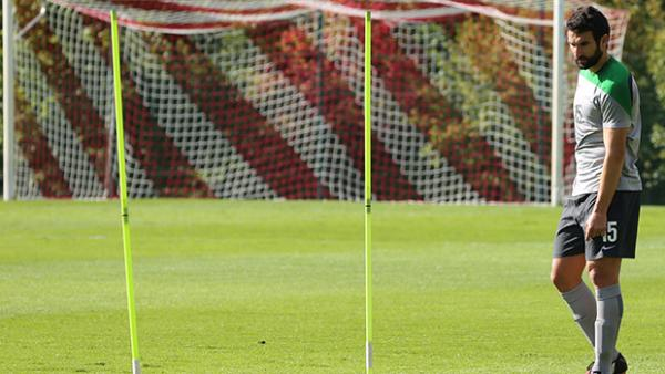 Socceroos captain Mile Jedinak on the training pitch in Belgium.
