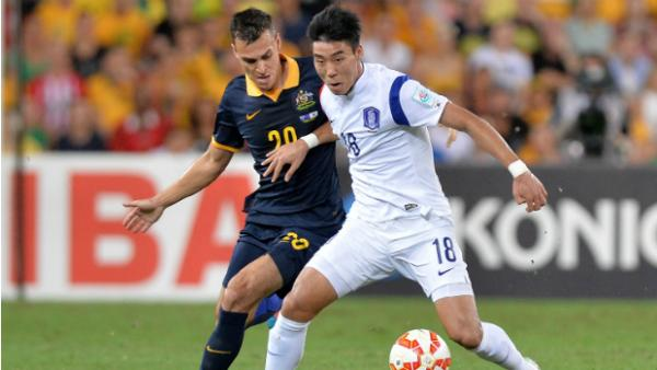 Korea Republic's goal scorer Lee Jeong-hyeop holds off Trent Sainsbury.