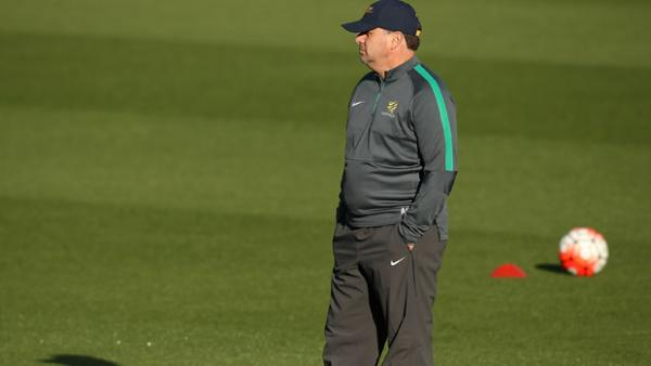 Postecoglou watches on during a Socceroos training session in Perth.