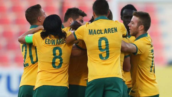 The Olyroos celebrate scoring at the 2016 AFC U-23 Championships.