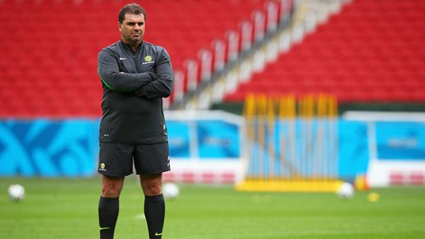Coach Ange Postecoglou presides over Socceroos training ahead of their encounter with the Netherlands.