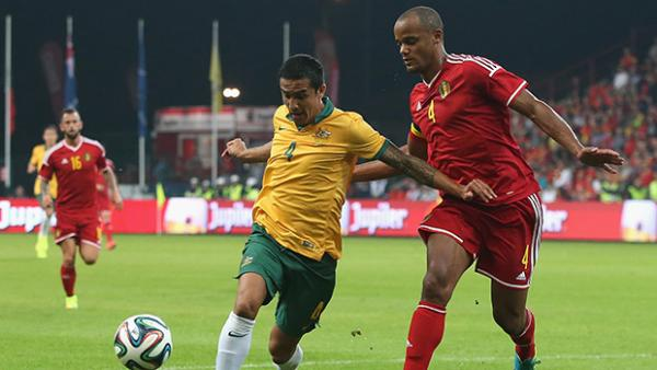 Tim Cahill and Vincent Kompany jostle for possession.