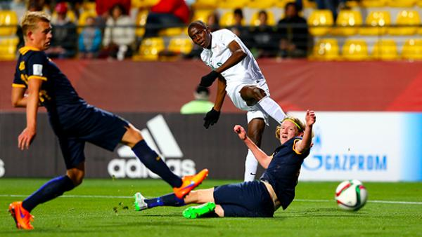Victor Osimhen scores his opening goal against Australia