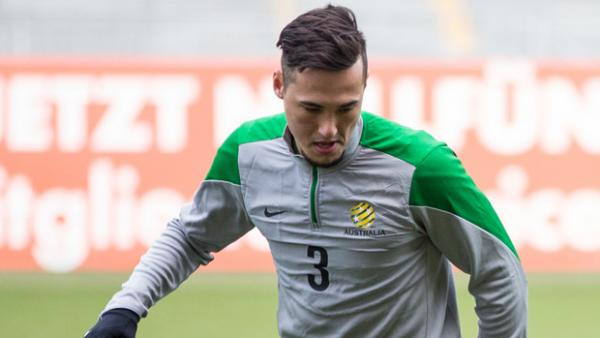 Jason Davidson during a Socceroos training session in Mainz, Germany.