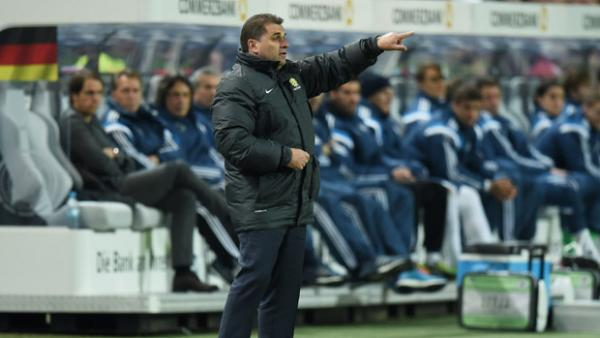 Ange Postecoglou instructs his players during their 2-2 draw against Germany in 2015.