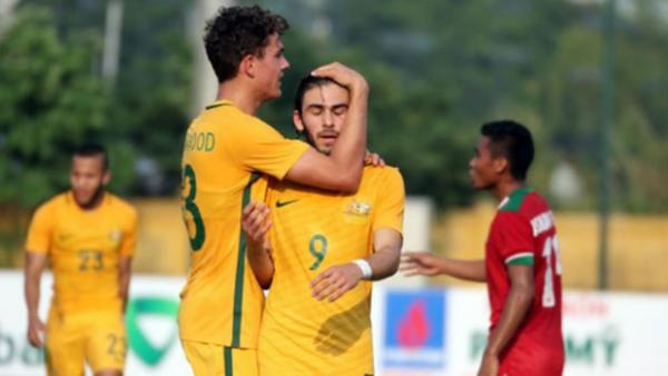 The Young Socceroos celebrate a goal in their 3-1 win over Indonesia at the AFF Championships.