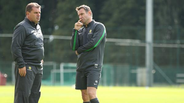 Socceroos coach Ange Postecoglou and assistant Ante Milicic talk tactics ahead of clash with Belgium.