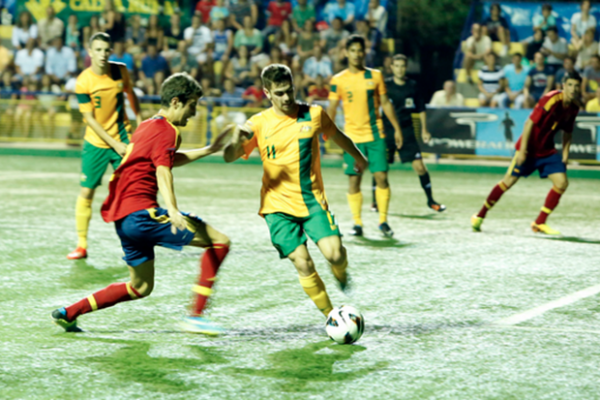 Young Socceroos go close to taking down Spain