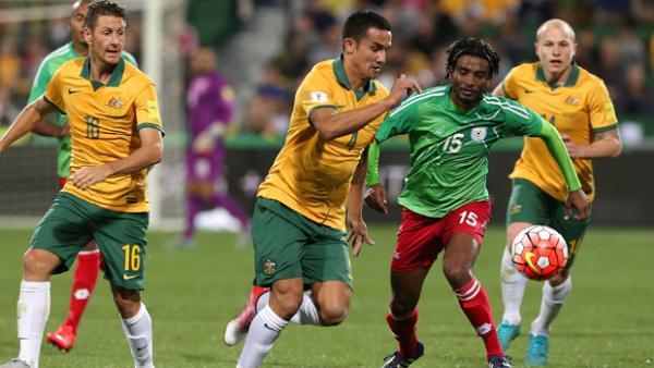 Tim Cahill on the ball during Australia's 5-0 win over Bangladesh in Perth in September.