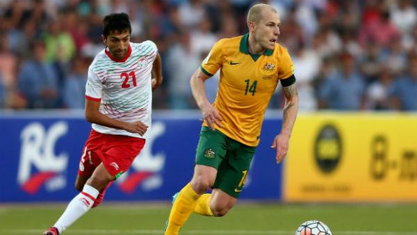 Caltex Socceroos midfielder Aaron Mooy on the ball against Tajikistan in Dushanbe.