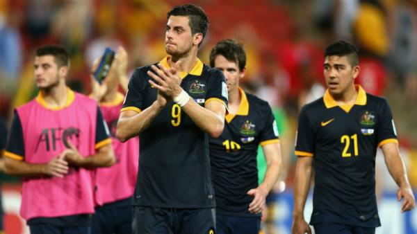 The Socceroos at full-time at Brisbane Stadium.