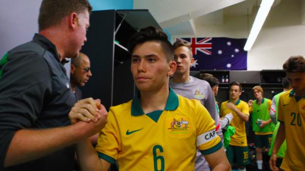 Captain Joe Caletti leads the Joeys out for their final friendly against Costa Rica