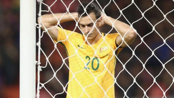 Defender Trent Sainsbury reacts to missing a chance against Thailand earlier this month.