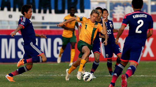 Stefan Mauk on the ball when the Olyroos last played Japan at the AFC U-22 Championship.
