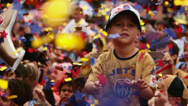 A young Newcastle Jets fan is part of their 2008 Hyundai A-League Championship celebrations.