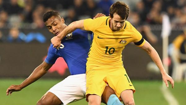 Robbie Kruse on the ball during Australia's 4-0 loss to Brazil.