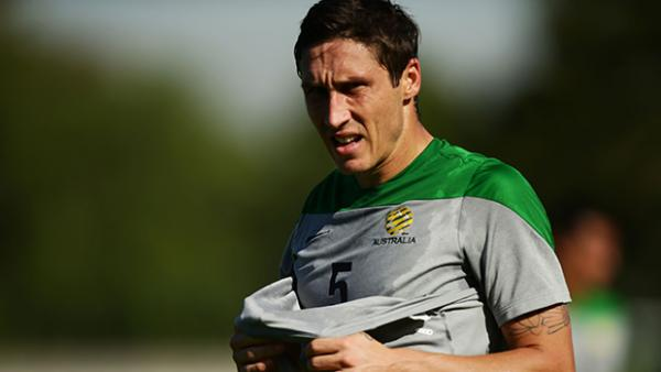 Midfielder Mark Milligan was absent from Socceroos training with a hamstring injury.
