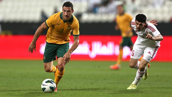 Socceroo Mathew Leckie on the ball against the UAE.