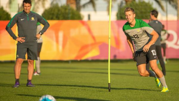 Olyroos attacker Stefan Mauk on the training ground in Doha.