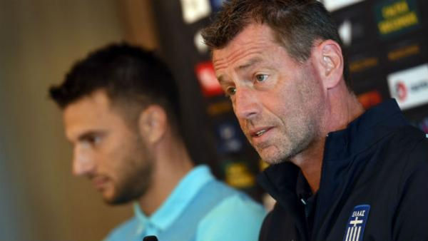 Greece coach Michael Skibbe addresses media ahead of the start of the Dodoni Series.