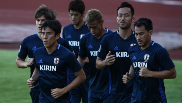 Japan players in training during their WCQ campaign.