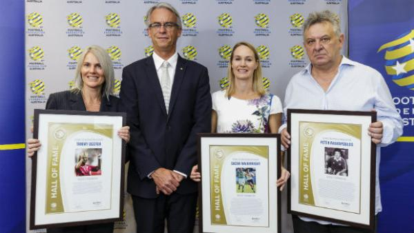 Referee Tammy Ogston, FFA CEO David Gallop, Matilda Sacha Wainwright and Socceroo Peter Raskopoulos.