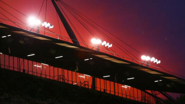 The sun sets over GIO Stadium ahead of kick-off in Thursday night's World Cup qualifier in Canberra.