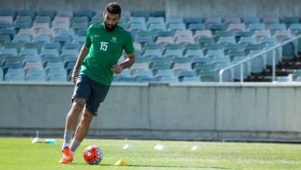 Socceroos captain Mile Jedinak on the training ground in Canberra.