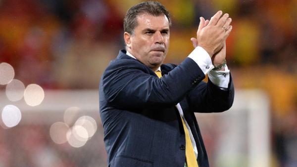 Postecoglou acknowledges the crowd following the Socceroos' 2-0 win over China.