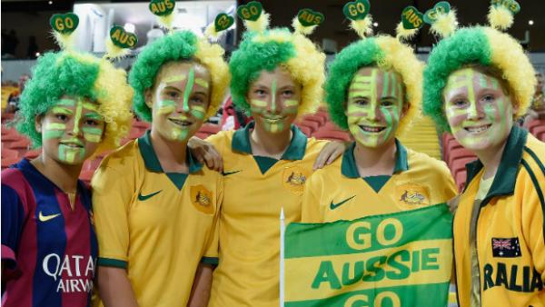 Fans show their support for the Socceroos.