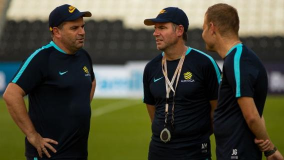 Olyroos coach Josep Gombau alongside Caltex Socceroos boss Ange Postecoglou and assistant Ante Milicic.