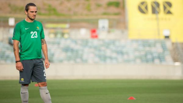 Socceroos defender Josh Risdon on the training ground.