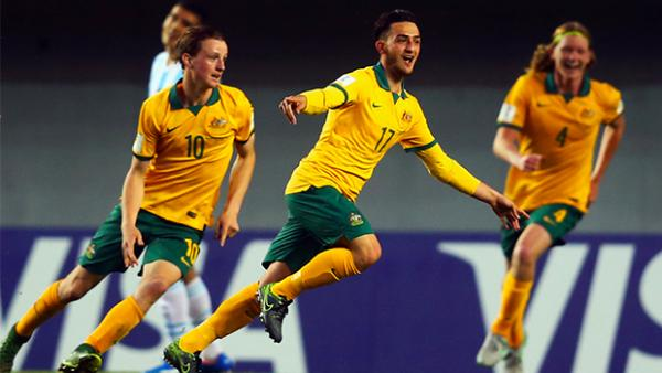 Nicholas Panetta celebrates scoring his second goal against Argentina to seal Australia's win